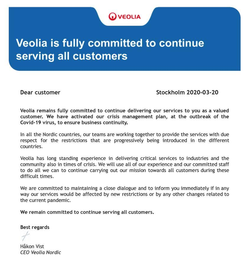 Letter to our customers regarding COVID-19