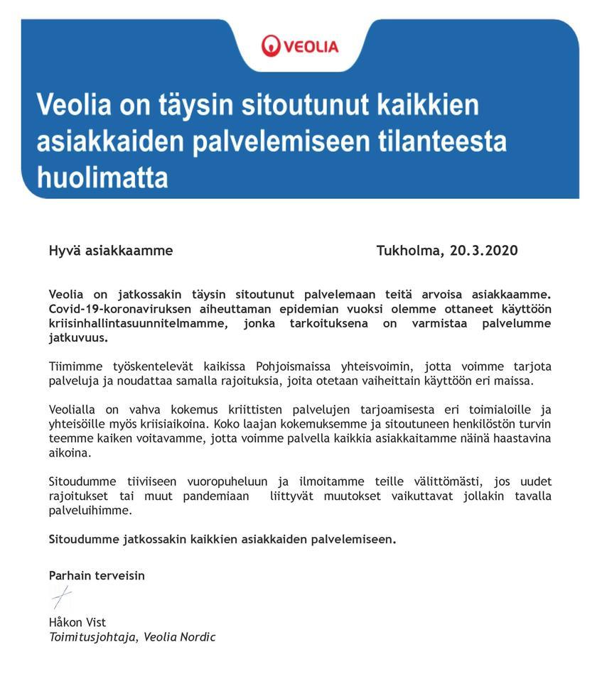 Letter to our customers regarding COVID-19 - FINNISH
